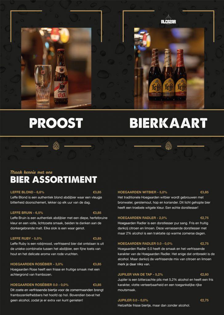 menukaart bierkaart ontwerp speciaal bier alcazar
